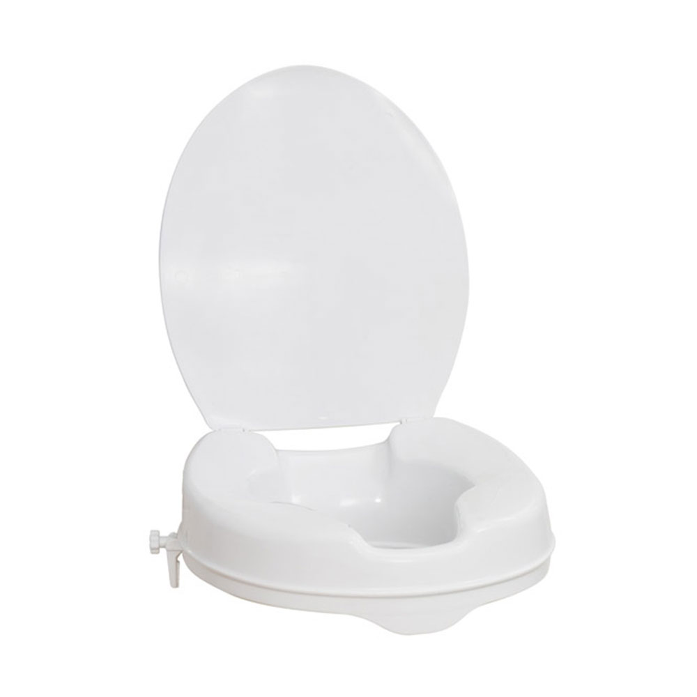 Elongated Raised Toilet Seat with Lid